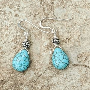 Handcrafted Sterling & Howlite Teardrop Earrings